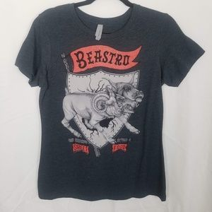 Beastro Red/Heather Grey Graphic 3-head Horned Pig